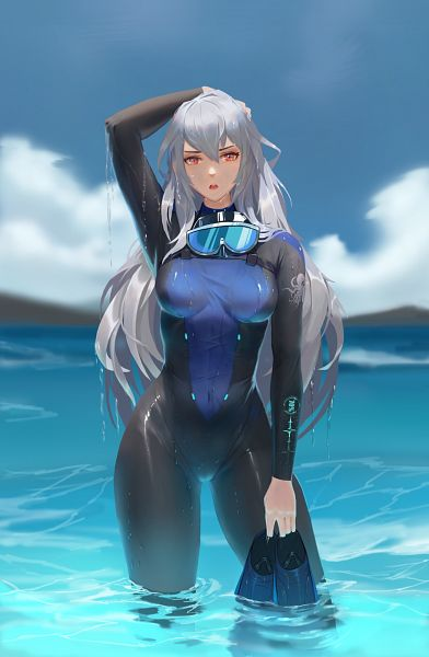Tags: Anime, Pixiv Id 14574109, Arknights, Skadi (Arknights), Diving Suit, Goggles Around Neck