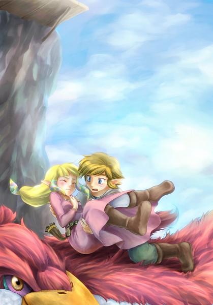 Tags: Anime, Rinka115, Zelda no Densetsu, Skyward Sword, Zelda (Skyward Sword), Princess Zelda, Loftwing, Link, Link (Skyward Sword), Catching, Fanart, Mobile Wallpaper, Pixiv