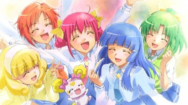 Tags: Anime, Smile Precure!, Midorikawa Nao, Hino Akane, Hoshizora Miyuki, Kise Yayoi, Candy (Smile Precure), Aoki Reika, Official Art, Screenshot