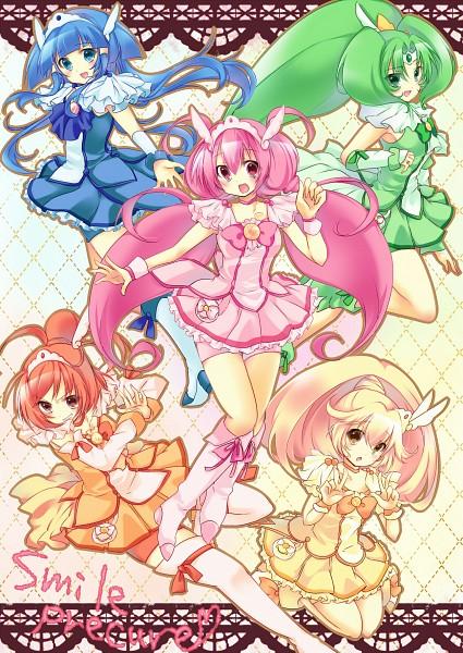Tags: Anime, Mizu (Nonbiri), Smile Precure!, Aoki Reika, Cure Sunny, Midorikawa Nao, Cure Peace, Hino Akane, Cure March, Hoshizora Miyuki, Cure Happy, Kise Yayoi, Cure Beauty
