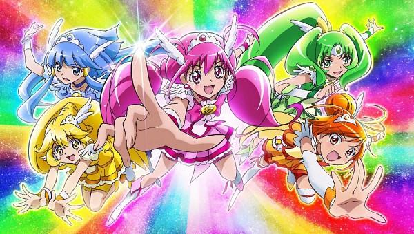 Tags: Anime, Smile Precure!, Cure March, Hoshizora Miyuki, Cure Happy, Kise Yayoi, Cure Beauty, Aoki Reika, Cure Sunny, Midorikawa Nao, Cure Peace, Hino Akane, Rainbow Colors
