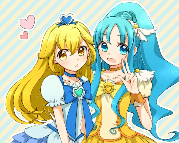 Tags: Anime, Nome Otto, Heartcatch Precure!, Smile Precure!, Kise Yayoi, Cure Peace, Kurumi Erika, Cure Marine, Cure Peace (Cosplay), Cure Marine (Cosplay), Hairstyle Switch, Fanart From Pixiv, Pixiv