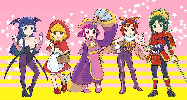 Tags: Anime, Ueyama Michirou, Smile Precure!, Hino Akane, Hoshizora Miyuki, Kise Yayoi, Aoki Reika, Midorikawa Nao, Heart Cleavage Cutout, Baby Bonnie Hood (Cosplay), Oboro Bishamon (Cosplay), Morrigan Aensland (Cosplay), Bat Print