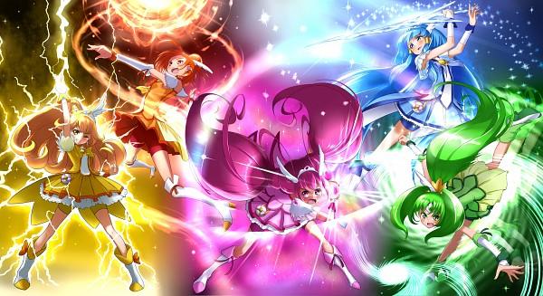 Tags: Anime, Takebi, Smile Precure!, Cure Sunny, Midorikawa Nao, Cure Peace, Hino Akane, Cure March, Hoshizora Miyuki, Cure Happy, Kise Yayoi, Cure Beauty, Aoki Reika