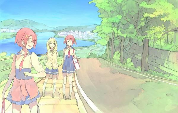 Tags: Anime, Toromi Chuuka, Smile Precure!, Kise Yayoi, Hino Akane, Hoshizora Miyuki, Jacket Around Waist, Fanart From Pixiv, Pixiv, Fanart