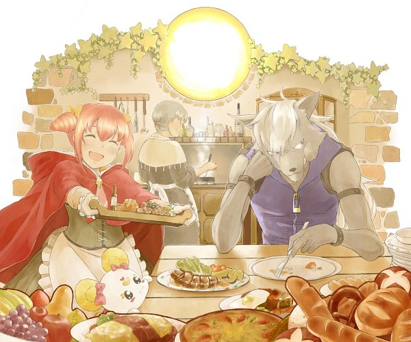 Tags: Anime, Pixiv Id 4323650, Smile Precure!, Wolfrun, Hoshizora Tae, Hoshizora Miyuki, Candy (Smile Precure), Kitchen, Pear, Red Riding Hood (Cosplay), Salad, Omelet, Red Riding Hood (Parody)