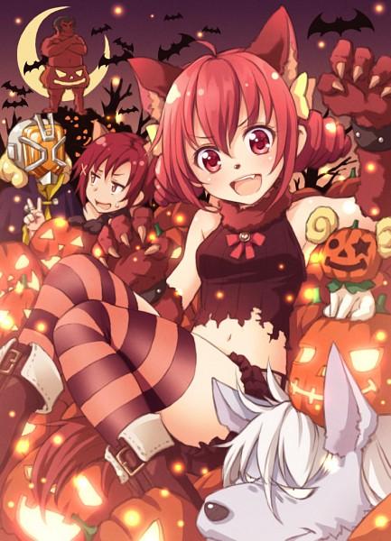 Tags: Anime, Tokunou Shoutarou, Smile Precure!, Hoshizora Miyuki, Akaooni, Candy (Smile Precure), Wolfrun, Kise Yayoi, Hino Akane, Werewolf Costume, Red Skin, Pixiv, Fanart