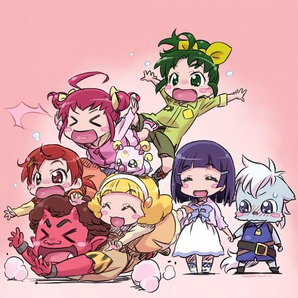 Tags: Anime, Isedaichi Ken, Smile Precure!, Hino Akane, Wolfrun, Hoshizora Miyuki, Kise Yayoi, Akaooni, Aoki Reika, Midorikawa Nao, Red Skin, Fanart, Fanart From Pixiv