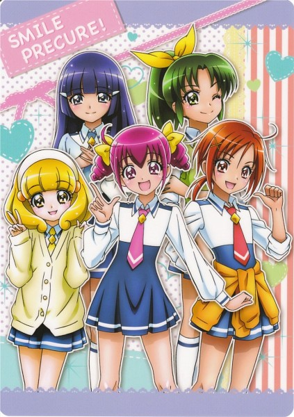 Tags: Anime, Smile Precure!, Hino Akane, Hoshizora Miyuki, Kise Yayoi, Aoki Reika, Midorikawa Nao, Scan, CG Art, Card (Source), Official Art