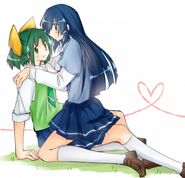 Tags: Anime, Jappo, Smile Precure!, Aoki Reika, Midorikawa Nao, Sitting On Grass, Fanart From Pixiv, Pixiv, Fanart