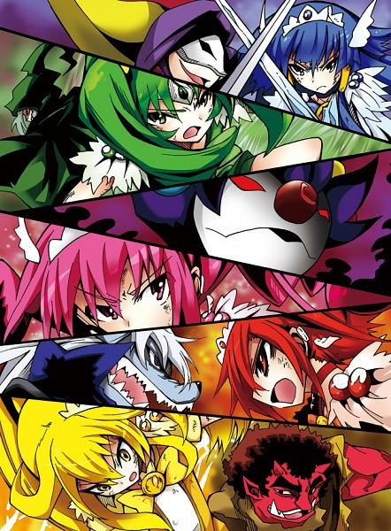 Tags: Anime, Pixiv Id 255157, Smile Precure!, Cure Happy, Kise Yayoi, Cure Beauty, Akaooni, Aoki Reika, Cure Sunny, Majorina, Midorikawa Nao, Cure Peace, Joker (Smile Precure)