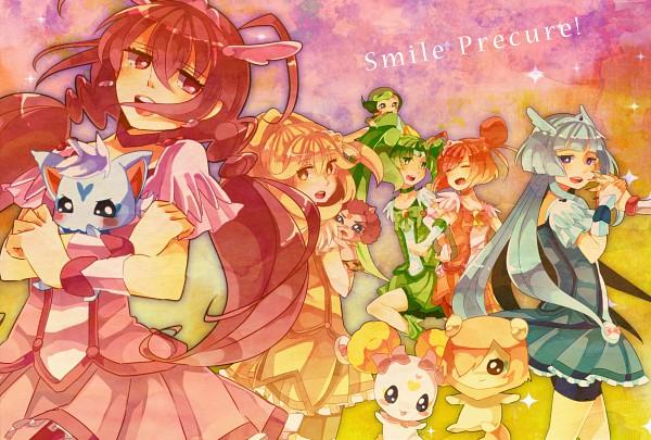 Tags: Anime, Pixiv Id 359352, Smile Precure!, Cure Sunny, Majorina, Midorikawa Nao, Cure Peace, Joker (Smile Precure), Hino Akane, Cure March, Wolfrun, Hoshizora Miyuki, Pop (Smile Precure)