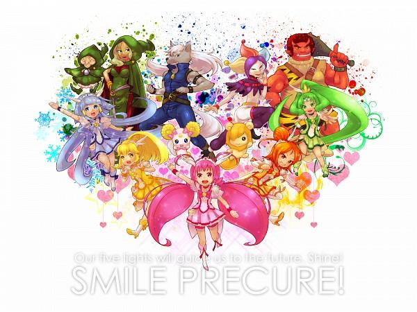 Tags: Anime, Pixiv Id 118669, Smile Precure!, Midorikawa Nao, Cure Peace, Joker (Smile Precure), Hino Akane, Cure March, Wolfrun, Hoshizora Miyuki, Pop (Smile Precure), Candy (Smile Precure), Kise Yayoi