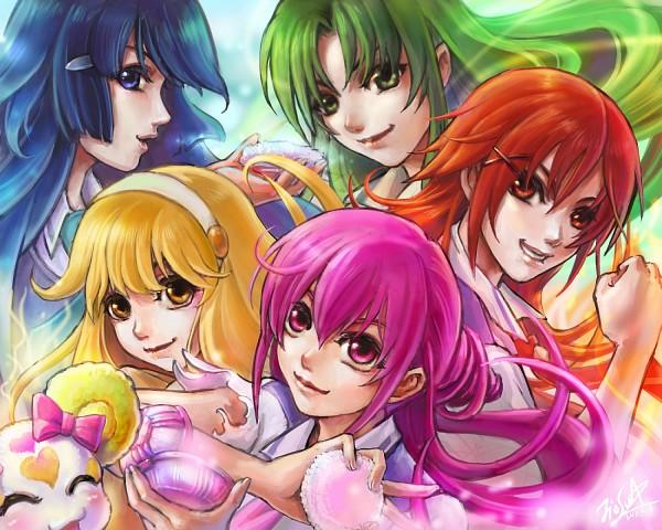 Tags: Anime, JioS, Smile Precure!, Hoshizora Miyuki, Kise Yayoi, Candy (Smile Precure), Aoki Reika, Midorikawa Nao, Hino Akane, deviantART, Pixiv, Fanart, Fanart From Pixiv