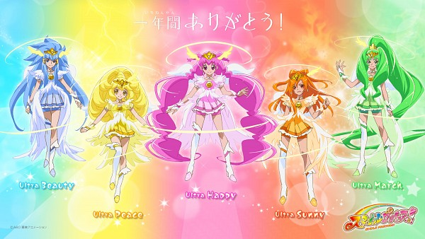 Tags: Anime, Smile Precure!, Hino Akane, Cure March, Ultra Cure Happy, Hoshizora Miyuki, Cure Happy, Kise Yayoi, Cure Beauty, Aoki Reika, Cure Sunny, Midorikawa Nao, Cure Peace