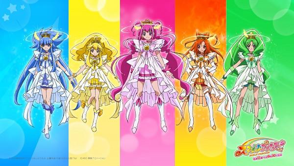 Tags: Anime, Kawamura Toshie, Smile Precure!, Cure Peace, Hino Akane, Cure March, Hoshizora Miyuki, Cure Happy, Kise Yayoi, Cure Beauty, Aoki Reika, Cure Sunny, Midorikawa Nao