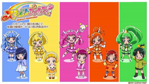 Tags: Anime, Kawamura Toshie, Smile Precure!, Hino Akane, Cure March, Hoshizora Miyuki, Candy (Smile Precure), Kise Yayoi, Cure Beauty, Cure Happy, Aoki Reika, Cure Sunny, Midorikawa Nao