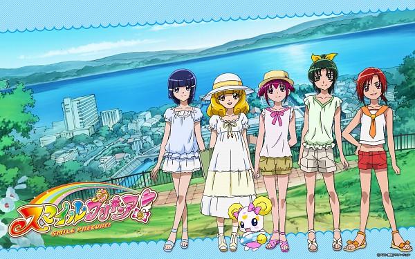 Tags: Anime, Smile Precure!, Precure All Stars, Cure Sunny, Midorikawa Nao, Cure Peace, Hino Akane, Cure March, Hoshizora Miyuki, Candy (Smile Precure), Kise Yayoi, Cure Beauty, Cure Happy