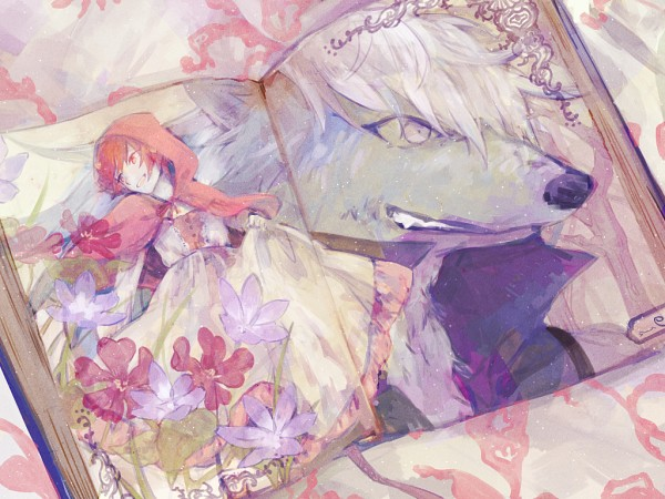 Tags: Anime, Pixiv Id 3796662, Smile Precure!, Hoshizora Miyuki, Wolfrun, Hino Akane, Big Bad Wolf (Cosplay), Red Riding Hood (Cosplay), Fanart From Pixiv, Pixiv, Wallpaper, Fanart