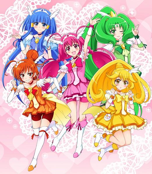 Tags: Anime, Pixiv Id 5170635, Smile Precure!, Cure March, Hoshizora Miyuki, Cure Happy, Kise Yayoi, Cure Beauty, Aoki Reika, Cure Sunny, Midorikawa Nao, Cure Peace, Hino Akane