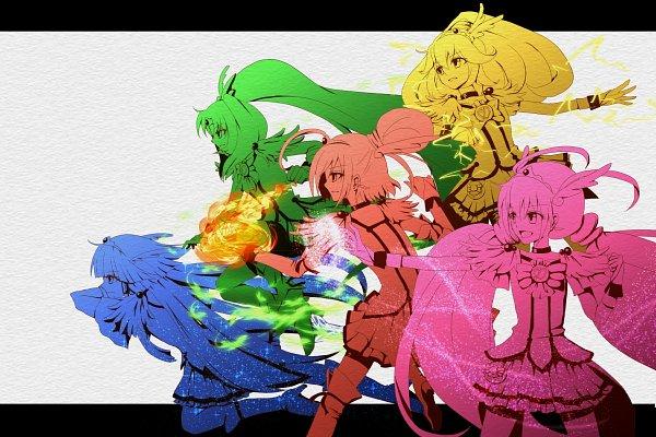 Tags: Anime, Lua (Tsurezure Naru Mama Ni), Smile Precure!, Hino Akane, Cure March, Hoshizora Miyuki, Cure Happy, Kise Yayoi, Cure Beauty, Aoki Reika, Cure Sunny, Midorikawa Nao, Cure Peace