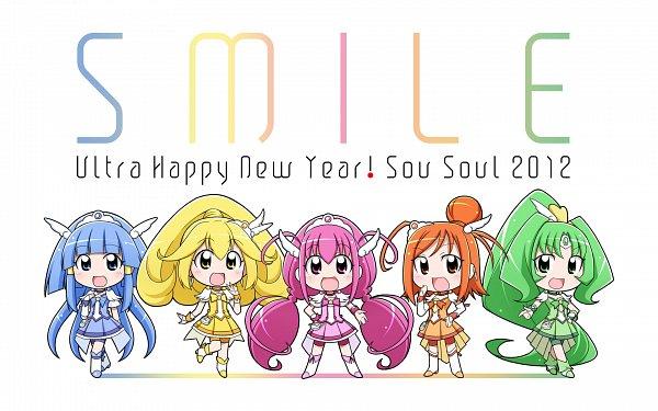 Tags: Anime, Souto, Smile Precure!, Cure Sunny, Hino Akane, Cure Peace, Hoshizora Miyuki, Cure March, Kise Yayoi, Cure Happy, Aoki Reika, Cure Beauty, Midorikawa Nao