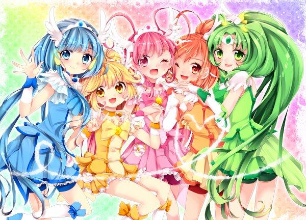 Tags: Anime, Uduki Shi, Smile Precure!, Cure Happy, Aoki Reika, Cure Beauty, Midorikawa Nao, Cure Sunny, Hino Akane, Cure Peace, Hoshizora Miyuki, Cure March, Kise Yayoi