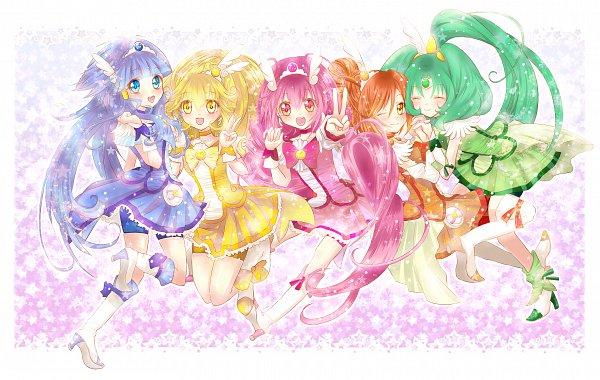 Tags: Anime, Pixiv Id 425635, Smile Precure!, Hino Akane, Cure Peace, Hoshizora Miyuki, Cure March, Kise Yayoi, Cure Happy, Aoki Reika, Cure Beauty, Midorikawa Nao, Cure Sunny