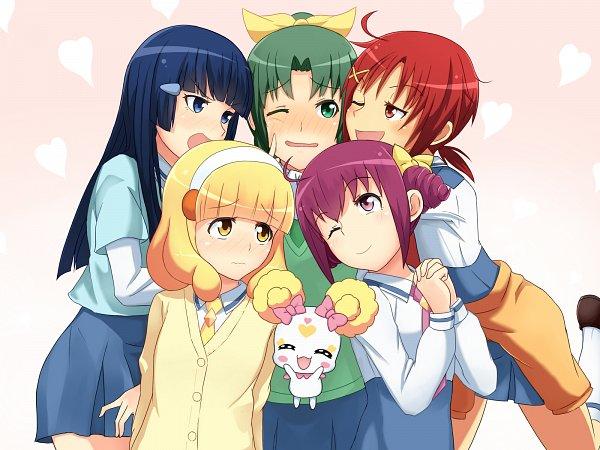 Tags: Anime, Unpale, Smile Precure!, Hoshizora Miyuki, Kise Yayoi, Candy (Smile Precure), Aoki Reika, Midorikawa Nao, Hino Akane, Jacket Around Waist, Megaman (Parody), Pixiv, Wallpaper