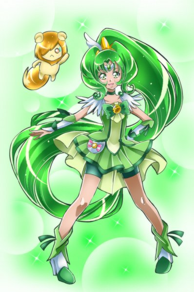 Tags: Anime, Shunciwi, Smile Precure!, Cure March, Pop (Smile Precure), Midorikawa Nao, Green Shorts, Fanart, Twitter, Fanart From Pixiv, Pixiv
