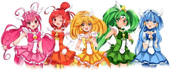 Tags: Anime, Uduki Shi, Smile Precure!, Hoshizora Miyuki, Cure Happy, Kise Yayoi, Cure Beauty, Aoki Reika, Cure Sunny, Midorikawa Nao, Cure Peace, Hino Akane, Cure March