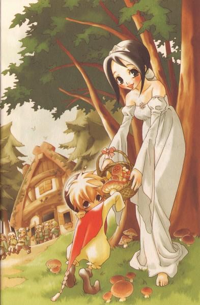 Tags: Anime, Ishiyama Keiko, Grimms Manga, Snow White and the Seven Dwarfs, Snow White, Dwarf, Manga Color, Official Art, Scan