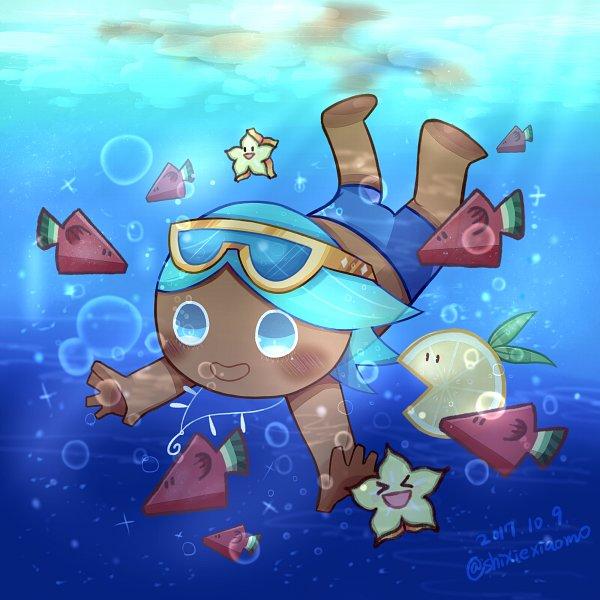 Tags: Anime, Pixiv Id 7264230, Cookie Run, Lemon Slice (Cookie Run), Soda Cookie, Swim Trunks, Lemon, Fanart, Fanart From Pixiv, Pixiv
