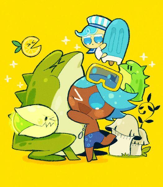 Tags: Anime, Misaki-omoomochiii, Cookie Run, Lemon Slice (Cookie Run), Soda Cookie, Pistachio Firefly, Peppermint Cookie, Surfboard, Swim Trunks, Lemon, Fanart, Tumblr, Fanart From Tumblr