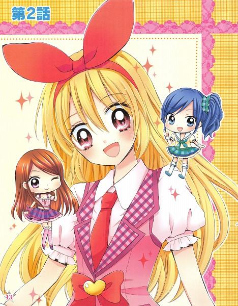 Tags: Anime, Ooka Saori, Aikatsu!, Hoshimiya Ichigo, Shibuki Ran, Kiriya Aoi, Pink Vest, Scan, Manga Color, Official Art, Soleil (Aikatsu!)