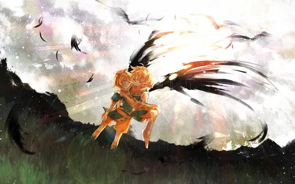 Tags: Anime, Herb, VOCALOID, Kagamine Len, Kagamine Rin, Gray Sky, Dirt, Unconscious, Face Down, Wallpaper, Pixiv, Soleil (Song), Kagamine Mirrors