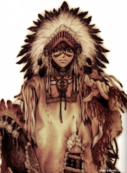 Tags: Anime, Minekura Kazuya, Saiyuki, Son Goku (Saiyuki), Native American Clothes, Official Art