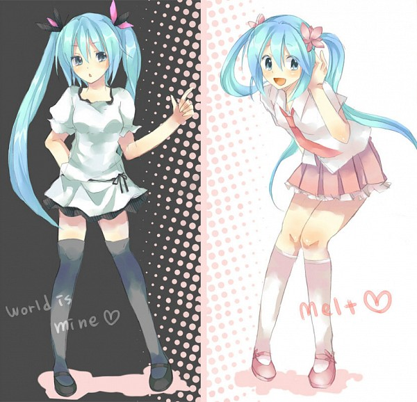 Tags: Anime, Ren329, Project DIVA F 2nd, VOCALOID, Hatsune Miku, Song-Over, Melt (Song), Project DIVA Supreme, World is Mine