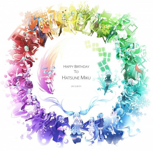 Tags: Anime, Lyodi, VOCALOID, Hatsune Miku, Rainbow Colors, Alice in Musicland, Rolling Girl, Risky Game, Glorious World, World is Mine, Clock Lock Works, Karakuri Pierrot, Hitobashira Alice