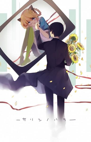 Tags: Anime, Bisonbison, VOCALOID, Fan Character, Green Legwear, Pixiv, Mobile Wallpaper, Yonjuunana, Song-Over, Sarishinohara