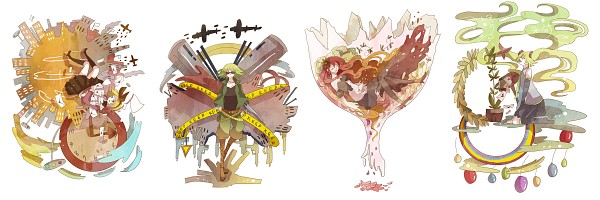 Tags: Anime, Rio (Pixiv2011923), VOCALOID, Megurine Luka, Kagamine Rin, Hatsune Miku, GUMI, Light Pole, Crime Scene Tape, Love Letter, Shuumatsu ga Yattekuru!, Twitter Header, Bokura no 16bit Warz