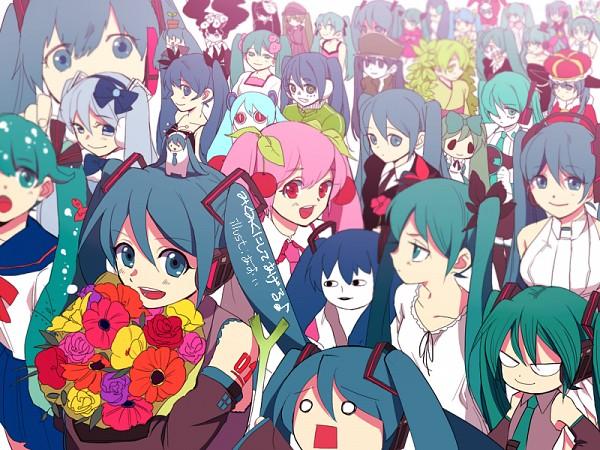 Tags: Anime, Twilight Snow, VOCALOID, Shiteyanyo, Pirori Miku, Hatsune Miku, Hachune Miku, Aimaina, Mikudayou, Ievan Polka, Wallpaper, Bottle Design, Shinkai Shoujo