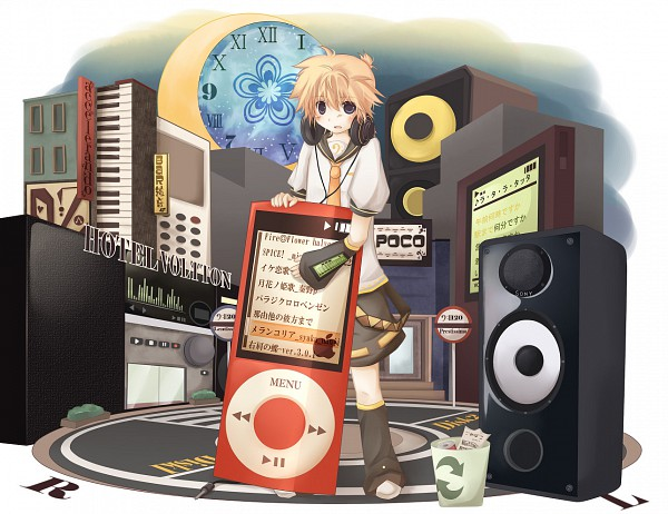Tags: Anime, Pixiv Id 1442594, VOCALOID, Kagamine Len, iPod, Pixiv, The Benzene Series, Song-Over, Spice!, Fanart, Migikata no Chou, Fire◎Flower