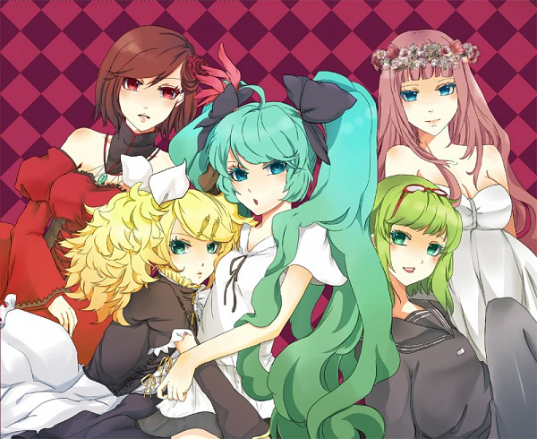 Tags: Anime, Pixiv Id 86351, Project DIVA F 2nd, Project DIVA 2nd, VOCALOID, GUMI, Hatsune Miku, MEIKO (VOCALOID), Megurine Luka, Kagamine Rin, Asymmetrical Clothing, Just Be Friends, Project DIVA Supreme
