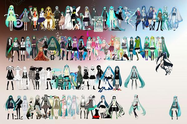 Tags: Anime, Pixiv Id 1682608, Black★Rock Shooter, VOCALOID, Shiteyanyo, Black★Rock Shooter (Character), Hatsune Miku, Aimaina, Lily (VOCALOID), Hachune Miku, ARiA (VOCALOID), Lynne, YOUTHFUL DAYS' GRAFFITI