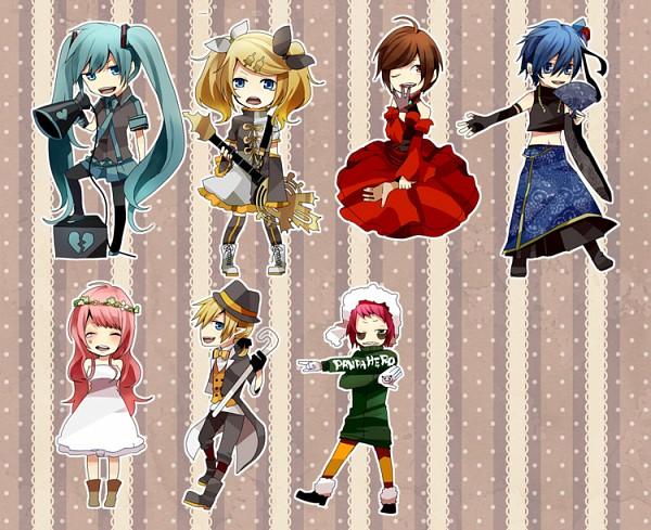Tags: Anime, Pixiv Id 480653, Project DIVA 2nd, VOCALOID, Megurine Luka, Hatsune Miku, KAITO, GUMI, Kagamine Len, Kagamine Rin, MEIKO (VOCALOID), Asymmetrical Clothing, Akujiki Musume Conchita