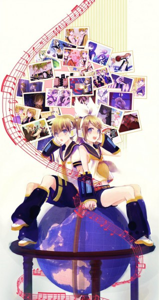 Tags: Anime, Usui (Tripcube), VOCALOID, Kagamine Len, Kagamine Rin, Paper Airplane, Globe, Story of Evil, siGrE, Trick and Treat (VOCALOID), Juvenile, SKELETON LIFE, Fear Garden