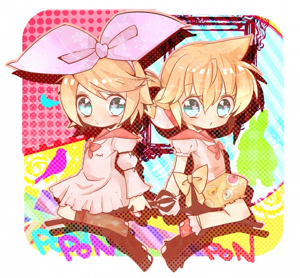 Tags: Anime, Mami Love Candy, VOCALOID, Kagamine Len, Kagamine Rin, Symmetry, Fanart, Tsukematsukeru, Pixiv, PONPONPON, Song-Over