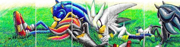 Tags: Anime, Pixiv Id 94299, Sonic '06, Sonic the Hedgehog, Sonic the Hedgehog (Character), Mephiles the Dark, Silver the Hedgehog, Shadow the Hedgehog, Fanart From Pixiv, Pixiv, Fanart