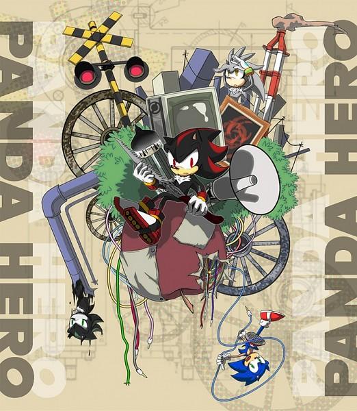 Tags: Anime, Pixiv Id 610362, Sonic '06, Sonic the Hedgehog, Silver the Hedgehog, Shadow the Hedgehog, Sonic the Hedgehog (Character), Mephiles the Dark, Fanart, Fanart From Pixiv, Panda Hero, Pixiv